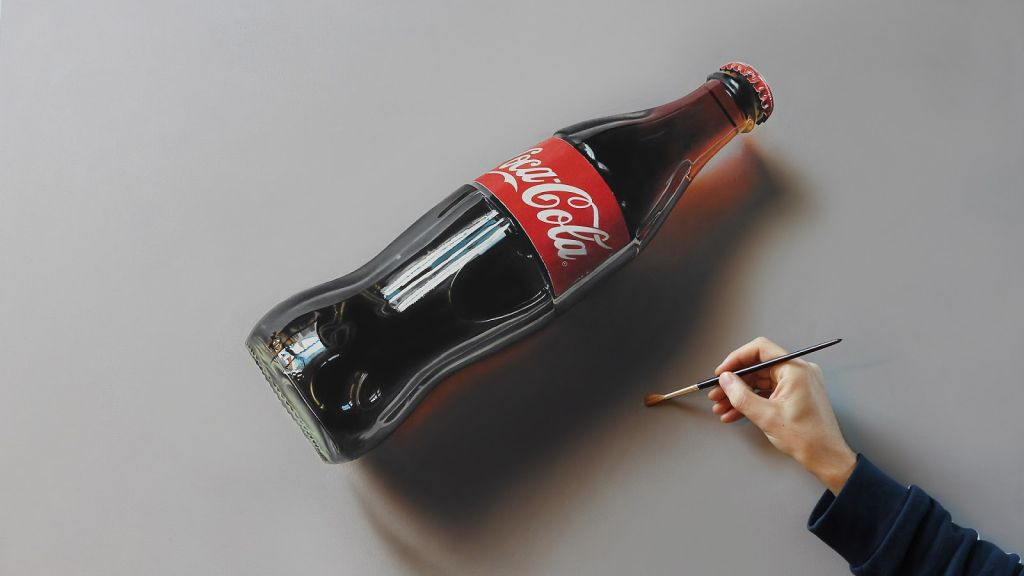 """Coca Cola Flasche"", Marcello Barenghi - Hyperrealistic Art Designer & Youtube Star"